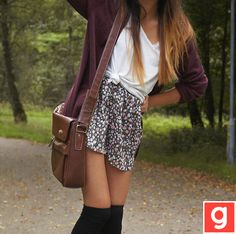 skirt is WAY to short for me.... but I love everything about this, colors, boot, bag, everything just needs longer skirt