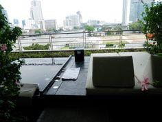 Hidden little spa area poolside at the Hilton Millennium Hotel in Bangkok, Thailand