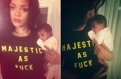 Rihanna and Majesty! Rih in her Ktag NYC tee.