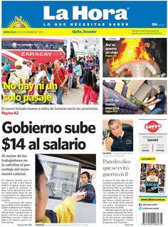 Los temas destacados son: Gobierno sube a $14 el salario, No hay ni un solo pasaje, Así se quema un viejo, 2015 sin malas energías y Paredes dice que se evitó guerra civil.