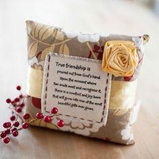 Mary & Martha ~gifts~  Friendship pocket pillow. Item # 83740  What a beautiful message written on the pocket.  http://www.mymaryandmartha.com/RACHEL/