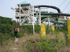Tainan, Shengmu Temple and Water Wasteland in Taiwan - Large water slides