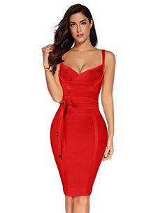 7516013c2e Meilun Womens Rayon Belt Detail Bandage Bodycon Party Dress Curvy Women  Fashion