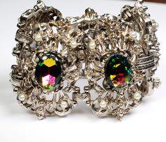 Selro Watermelon Heliotrope Rhinestone Glass Bracelet Huge by EmbellishgirlVintage on Etsy