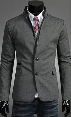 Standing collar leather splicing long sleeve mens blazer with open collar look and side pockets available in M-2XL
