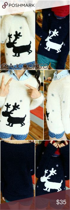 "🍭New🍭Reindeer fuzzy holiday sweater This super cute fuzzy knit pullover sweater is a must have for the holidays! It will keep you warm while still looking chic and spreading your holiday day cheer. It features a reindeer and snowflake print. One size fits: XS - M it has spandex material so stretches or can fit loose. Approx measurements  Bust: 37"" Shoulder: 14"" Sleeve: 21"" Length: 24"" Sweaters Crew & Scoop Necks"