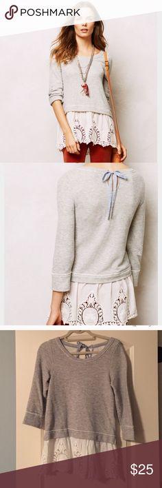 Anthropologie Lace Skirt Sweatshirt Grey Super cozy sweatshirt in great conditions! Anthropologie Tops