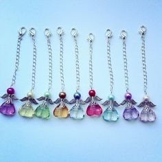 Angel charms each, choose from 9 colours! Angel Cards, Rosary Beads, Swarovski Pearls, Pink Roses, Charms, Colours, Sterling Silver