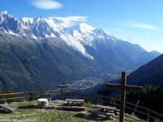 Mont Blanc and Chamonix, view from Refuge de la Flégère, 1877 m (Tour du Mont Blanc, France Alps)