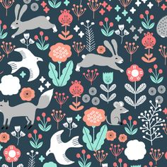 spring // woodland animals forest birds fox rabbit cute spring florals fabric by andrea_lauren on Spoonflower - custom fabric
