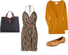 Casual outfit for Deep Autumn: black or black-brown with rust, mustard, or terra cotta