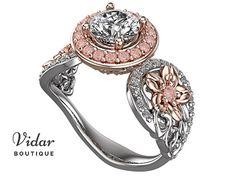 Moissanite Engagement Ring,Unique Engagement Ring,Flower Engagement Ring,Lotus Engagement Ring,Leaves Engagement Ring,Floral Engagement Ring