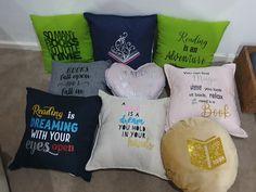 Created from K-Mart cushions Open Book, Relax, Cushions, Throw Pillows, Reading, Toss Pillows, Toss Pillows, Pillows, Decorative Pillows