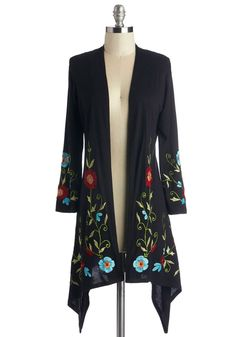 Bloom Service Delivery Cardigan - Long, Jersey, Knit, Black, Multi, Floral, Embroidery, Casual, Boho, Long Sleeve