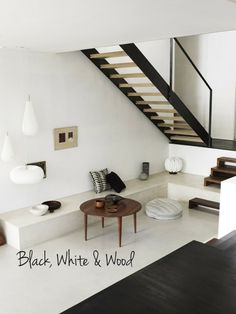 Black, white and wood