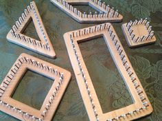 """DIY continuous strand weaving looms made with plywood and 1"""" finishing nails. 3 1/2"""" and 7"""". 1/4"""" nail spacing.  i used a band saw and a scroll saw, and  my dremel in the drill press attachment to pre drill the holes."""