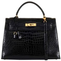 AS NEW Hermes 32cm Black Porous Crocodile Kelly Bag with Gold Hardware ($33,125) ❤ liked on Polyvore featuring bags, handbags, crocodile embossed handbags, hermès, hermes purse, croco embossed handbags and hermes handbags