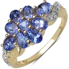 Malaika 14k Yellow Gold Over Silver 1 1/2ct TGW Genuine Tanzanite Ring ($48) ❤ liked on Polyvore featuring jewelry, rings, blue, blue ring, gold silver ring, 14k ring, 14k gold ring and blue tanzanite rings