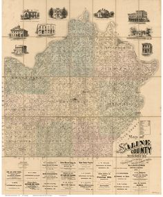 """Saline County Missouri 1871 - Wall Map with Landowner Names - Reprint. This Missouri county wall map shows all the old roads, landowner and place names. Great for genealogists and history lovers. The reprint is made from the original on file at the Library of Congress. We have edited the original image to improve the appearance. Great for genealogists and history lovers! We offer this map reprint in different sizes (original is 37""""x 44""""). ***** Names will not be legible at the smaller…"""