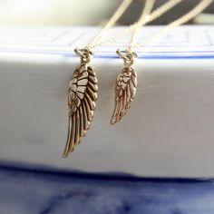 Mother Daughter Necklace Set  Bird Wing Pendant . by sevgicharms