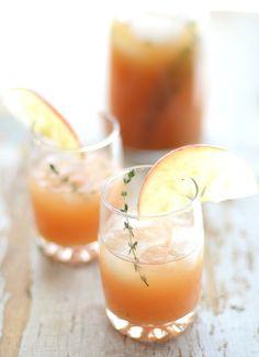 Cider Rum Punch: dark rum + lemon juice + apple cider + club soda