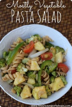 Mostly Vegetable Pasta Salad recipe.  This Pasta Salad recipe is chock full of fresh veggies, in fact, there are more vegetables than pasta. You could add in whatever vegetables you have on hand.  Advocare 24 day challenge friendly!