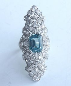 Blue Zircon and diamond dinner ring, set in platinum, circa 1920s