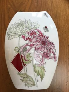 Porcelain And China Info: 8402782918 Hand Painted Plates, Painted Vases, Hand Painted Ceramics, Beautiful Flower Drawings, China Painting, Pottery Painting, Porcelain Ceramics, Islamic Art, Japanese Art