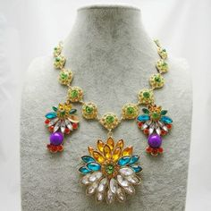 This product comes from   zkmade.com Euramerican Galant Crystal Alloy Necklace Rainbow Gem Flower Necklace High Quality