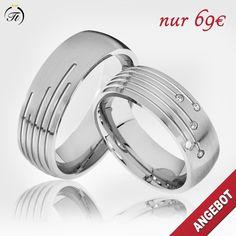 🔥 Wundervolle Partnerringe - SALE 🔥 🔸 aus Edelstahl mit 5 Schmucksteinen 🔸 inkl. Gravur 🔸 inkl. Ring-Etui 🔸 inkl. Versand 🔸 jetzt nur 69,-€ / Paarpreis