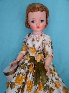 1958 yellow and green floral dress