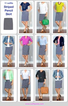 Striped skirt 11 ways!  http://outfitposts.com/2016/07/outfit-post.html?utm_campaign=coschedule&utm_source=pinterest&utm_medium=Outfit%20Posts&utm_content=outfit%20post%3A%20coral%20blazer%2C%20striped%20jersey%20pencil%20skirt%2C%20black%20pumps
