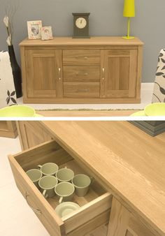 A great-looking contemporary oak sideboard with two large cupboards and three spacious drawers. Hallway Sideboard, Large Sideboard, Oak Sideboard, New Living Room, Living Room Kitchen, Living Room Decor, Dining Room, Grey Damask Wallpaper, Mustard Living Rooms