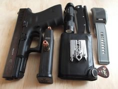 EDC; Glock 23 .40 with 13 +1, Cree LED with 3.7v rechargeable battery, Kershaw Chill, Fisher Space Pen X-Mark Bullet, Swiss+Tech 19 in 1, wallet, guitar pick, Diesel watch.