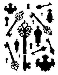 "Fancy Key Bits Stencil - 8 1/2"" x 11"""