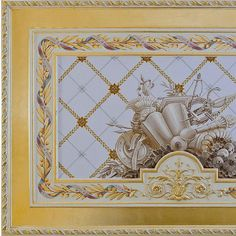 A fragment of the ceiling in the style of the French Empire Decor, Wall Art Designs, Wall Treatments, Color Blocking, Wall Painting, Luxury Interior, Grisaille, Decorative Painting, Studio Decor