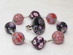 Eleganz Armband aus handgefertigten Polymer Clay Millefiori Perlen von filigran-Design aus Greiz auf DaWanda.com Jede ein Unikat!