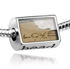 "Pandora Beach Charms | Beads ""Love, love, beach"" – Pandora Charm & Bracelet Compatible"