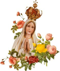 Lovely Crowned Virgin Mary with roses