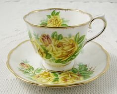 Royal Albert Tea Rose Tea Cup and Saucer, Vintage Bone China, Yellow Roses