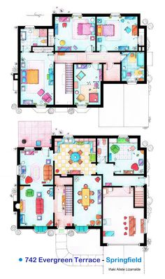 1000 images about tv and movie floor plans on pinterest for Simpsons house floor plan