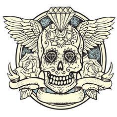 illustration vectorielle de Calavera, Diamond et roses