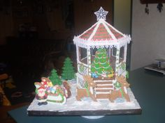 gingerbread gazebo, sleigh and reindeer