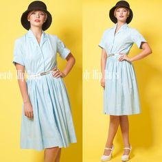 Vintage 50s Mad Men light blue Aline Shirt Dress by TrendyHipBuysVintage, $54.00