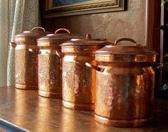 Vintage copper canister set hand crafted, made in Turkey. Stunning set of four copper canisters of heavy gauge copper.
