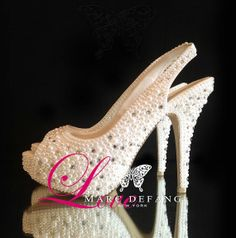 Wedding Shoes, Off White Pearls with Clear Crystal Details, Luxury Bridal Slingbacks, Bridal Shoes on Etsy, $199.00