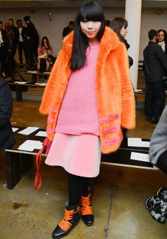 Gorgeous clash of colours and oversized garments