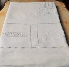 Antique French sheet pure linen MJ or MJC large monogram handmade embroideries 122,04'' long x 90,55'' wide