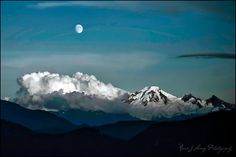Mount Baker in the Summer with a beautiful moon, taken from Abbotsford, BC, Canada