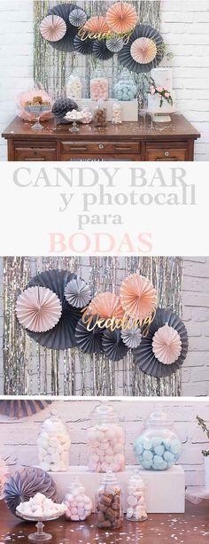 Comprar pack completo para candy bar de boda. Decoración para mesa dulce en un solo click. Más de 15 artículos. #candybar #mesadulce #boda